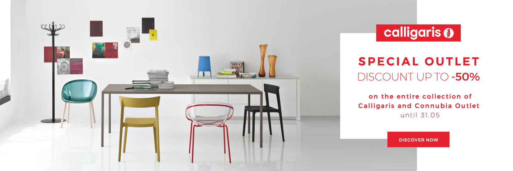 SPECIAL OUTLET DISCOUNT UP TO -70% on the entire collection of Calligaris and Connubia Outlet until 31.05