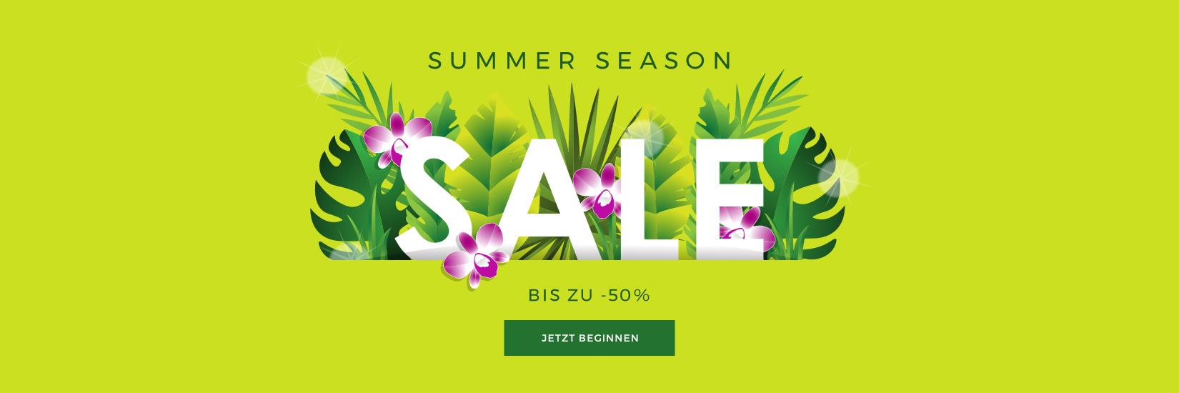 SUMMER SEASON SALE BIS ZU -50% ENDET AM 31.07