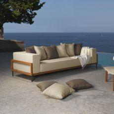 Cleo - Canapé de jardin, en teck et aluminium, déhoussable, disponible en différentes couleurs