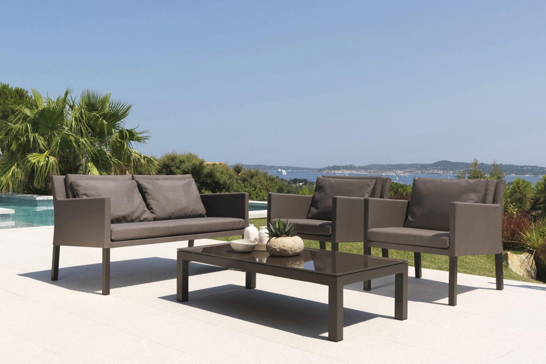 Step set ensemble de jardin design canap 2 fauteuils et table basse en m tal sediarreda for Canape de jardin design