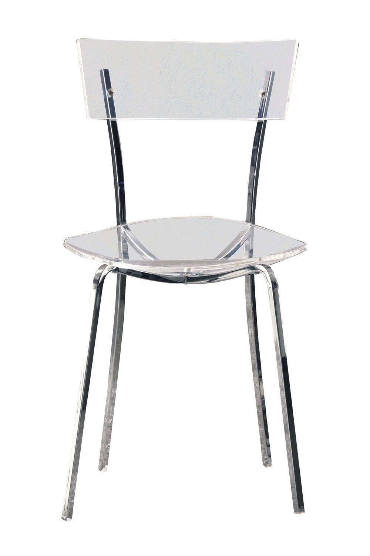 Ice silla moderna de colico design metal cromado y for Sillas metacrilato transparente
