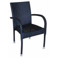 A81E - Sedia con braccioli per bar o ristornati, in alluminio e simil rattan per esterno, impilabile, in diversi colori