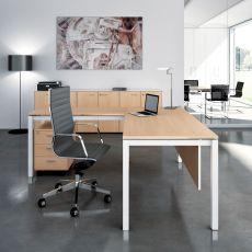 Office X4 01 - Scrivania da ufficio con penisola, struttura in metallo e piano in laminato, disponibile in diverse dimensioni e finiture