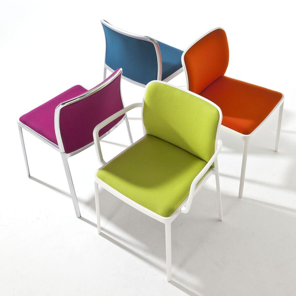 audrey soft designer stuhl kartell aus aluminium mit gepolstertem sitz und r ckenlehne. Black Bedroom Furniture Sets. Home Design Ideas