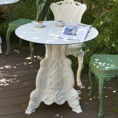 Lord of Love - Tisch Slide aus Polyethylen, mit runder oder viereckiger Platte aus HPL Laminat, auch für den Garten