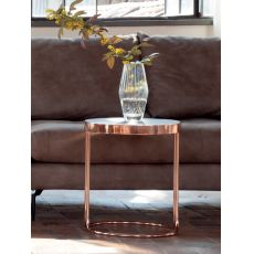 6035 Cora - Tonin Casa coffee table made of metal and wood, several finishings, round top