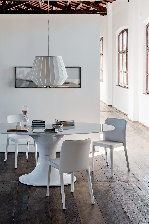 London tavolo fisso midj in policarbonato piano ovale - Tavolo vetro ovale ...