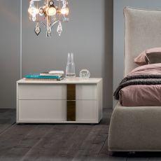 Flipper-N - Table de chevet Dall'Agnese en bois, disponible en différentes couleurs et dimensions, deux tiroirs
