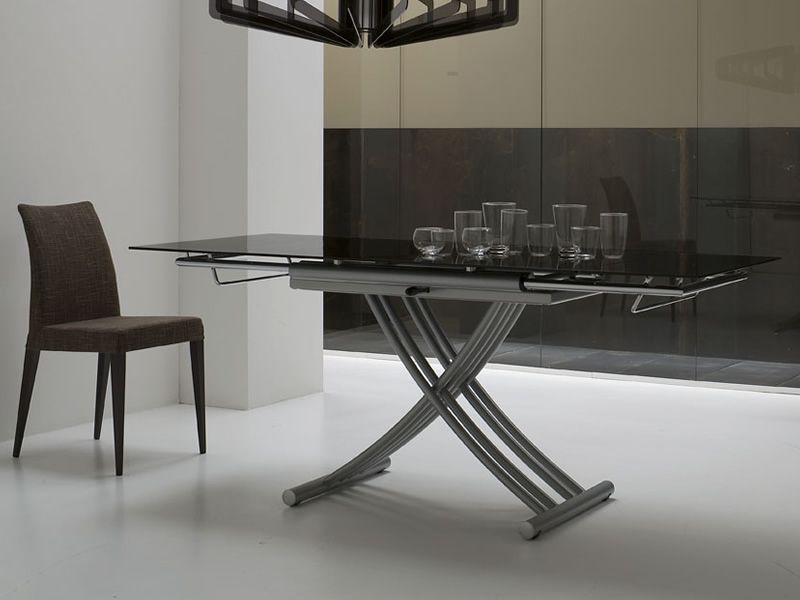 mix table midj en m tal avec plateau en verre. Black Bedroom Furniture Sets. Home Design Ideas