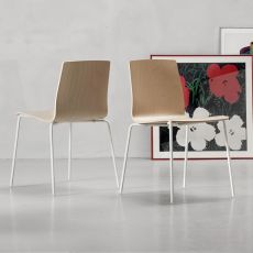 Alice Wood V 2845 - Moderner Stuhl aus Metall in Lackiert-Weiss, stapelbar, Sitz aus Buchenholz