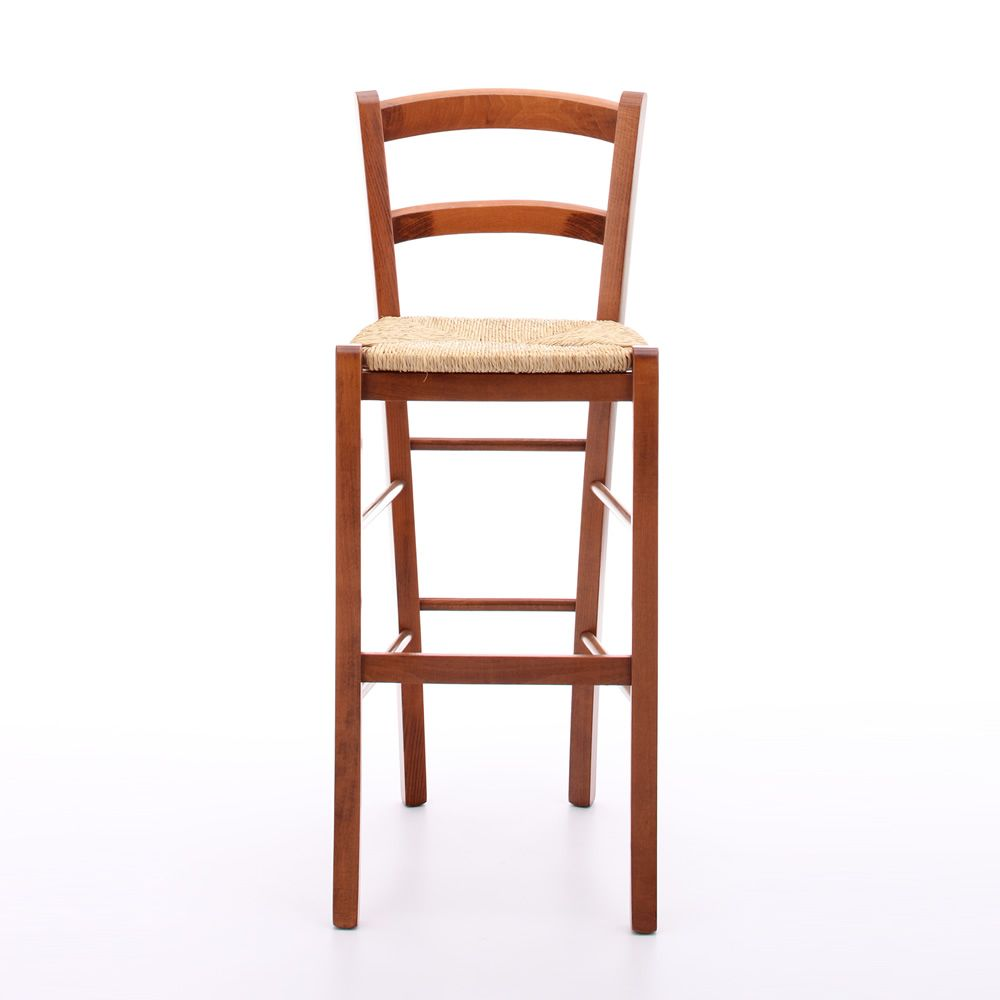 199 a promo tabouret haut rustique en bois teinte for Chaise rustique bois et paille
