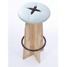 Bottone Alto - Hoher Hocker auz Holz, gepolsterter Sitz