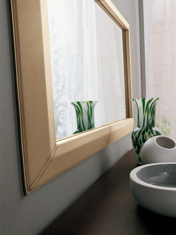 Socrate sp espejo rectangular con marco de cuero varias for Espejo rectangular con marco