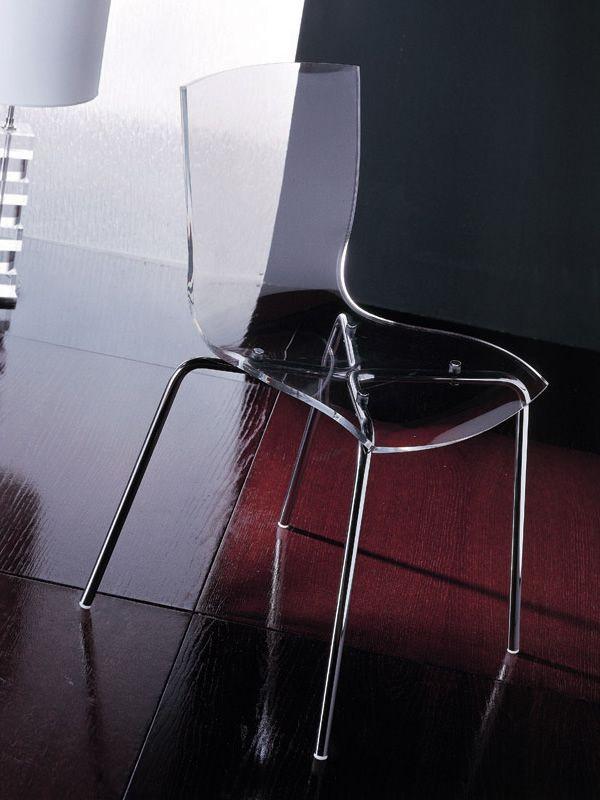 Hip silla de colico en metal apilable con asiento en for Sillas metacrilato transparente