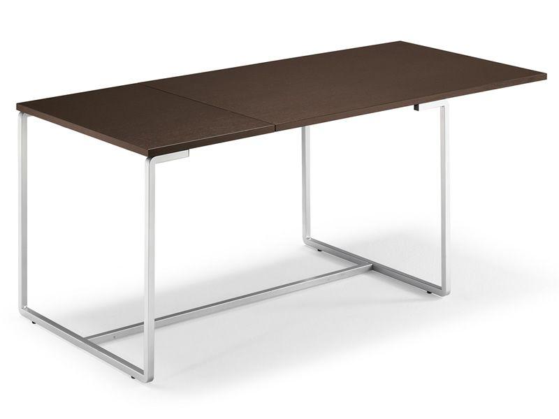 fast table domitalia en m tal plateau en m lamin 130 x. Black Bedroom Furniture Sets. Home Design Ideas