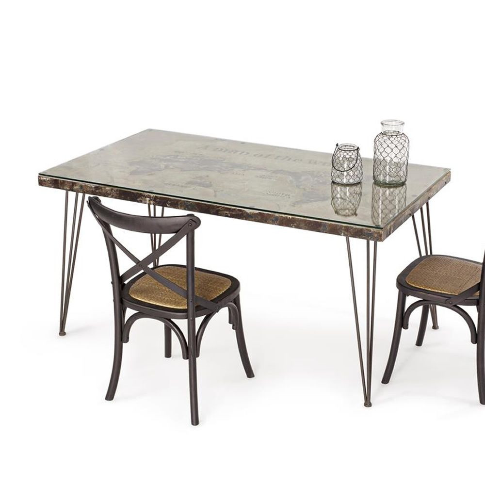 Lagos t tavolo urban style in metallo con piano in mdf for Tavolo di design in metallo