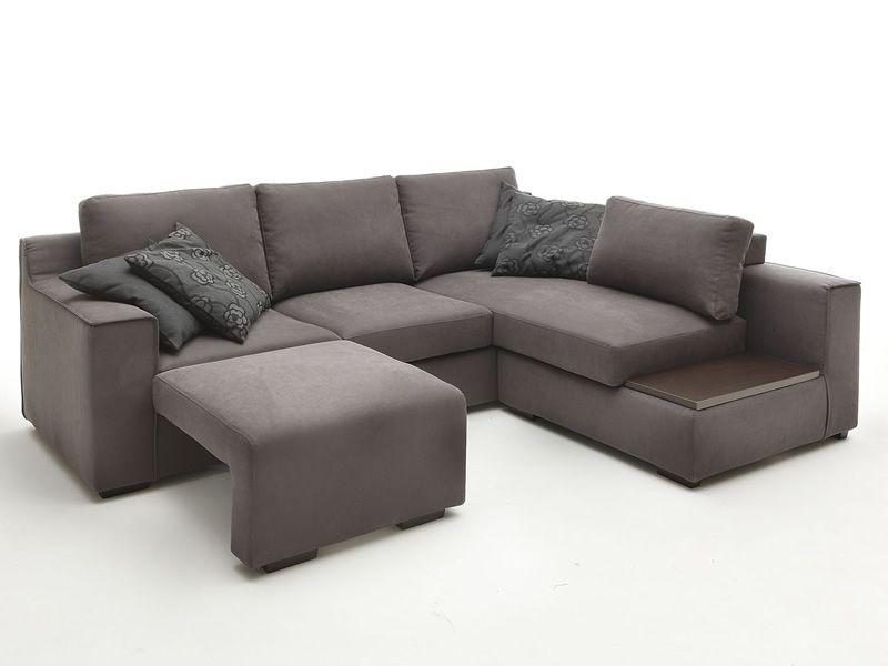Vanity top divano moderno con penisola vassoio e - Divano con poggiapiedi ...
