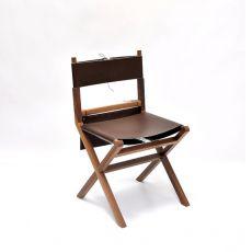 Lina - Sedia Valsecchi in legno con seduta in pelle, con sacca portaoggetti