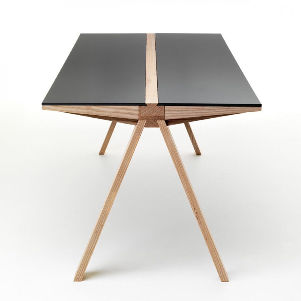 traverso filo tisch valsecchi aus holz mit platte aus glas oder hpl feststehend 200 x 86 cm. Black Bedroom Furniture Sets. Home Design Ideas