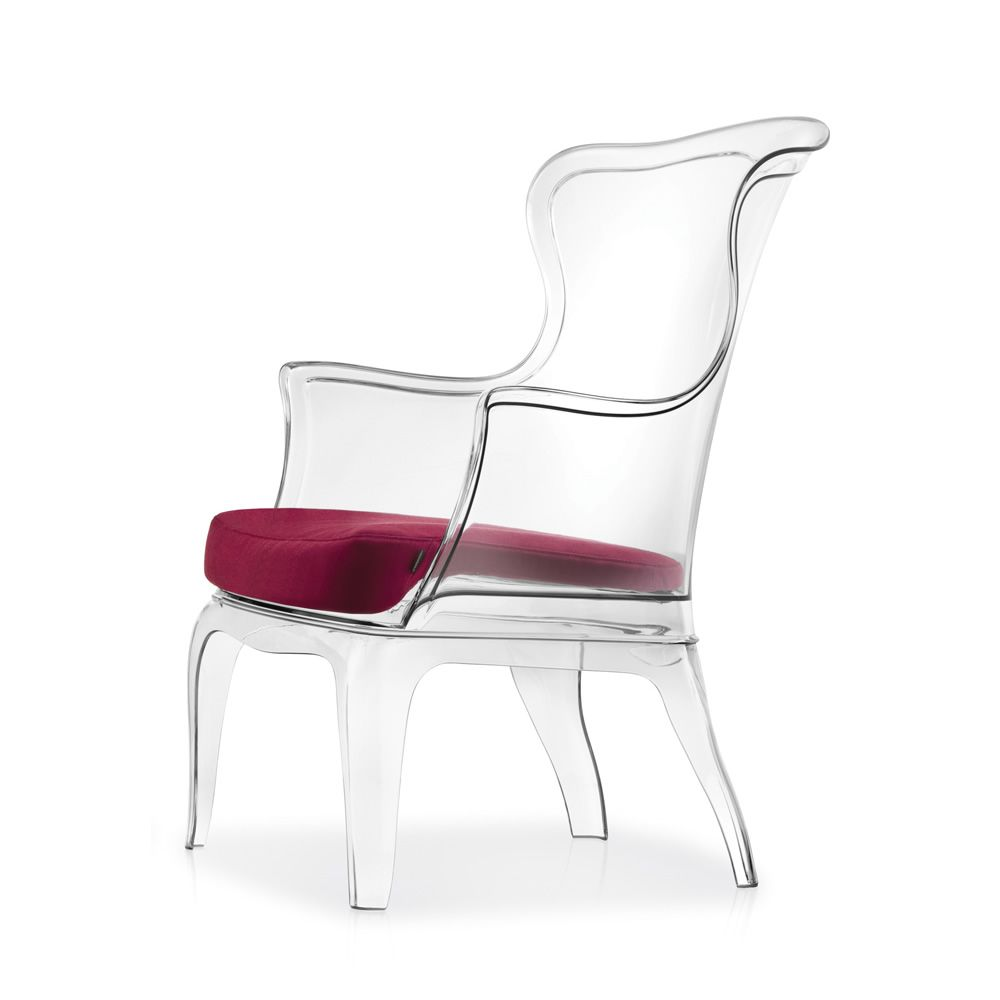 ... Transparent Colour Pasha 660   Armchairs In Polycarbonate, Transparent  Colour, Cushion Covered With G60 Fabric ...