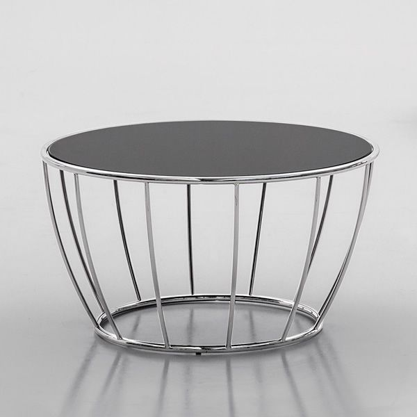 amburgo 6286: tonin casa round metal coffee table, glass top