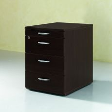 Cassettiera Wood 2 - Office chest of drawers made of laminate, equipped with rubber wheels and stationery holder, with two or three drawers, different finishes available
