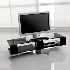 Bercy 7096 - Tonin Casa adjustable TV-stand made of bent glass, black varnished