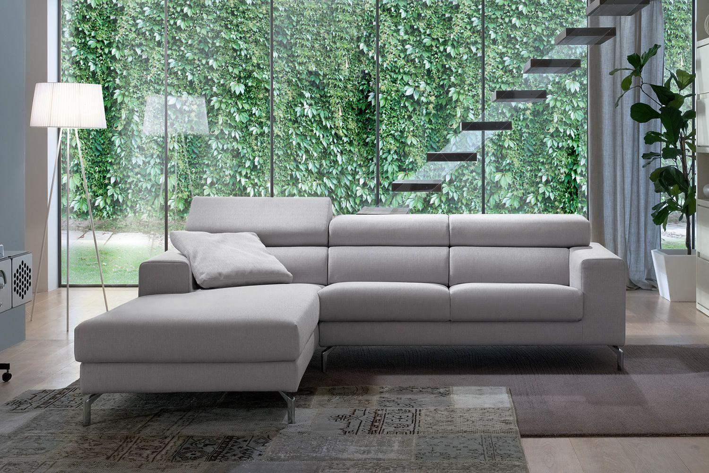 Fox divano con penisola reversibile e poggiatesta for Divano con penisola misure