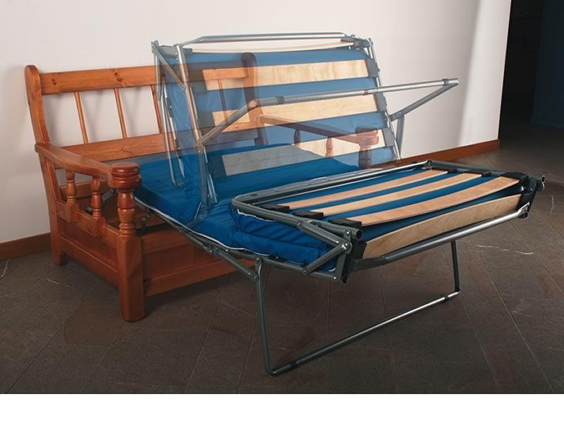 Tirolo Divano Letto - Divano letto rustico in legno con cuscini, a ...