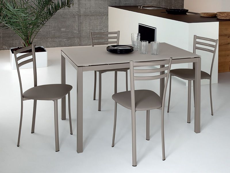 Full domitalia metal table glass or melamine top 120 x for Table 120x80