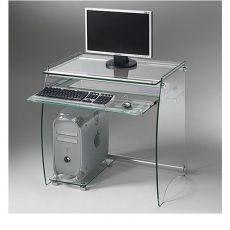 Clear - Portacomputer in metallo con ripiani e portatastiera estraibile in vetro