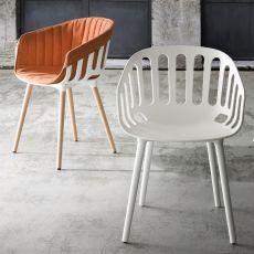 Basket - Poltroncina moderna con seduta in tecnopolimero, gambe in metallo o legno, anche per esterno, disponibile in diversi colori