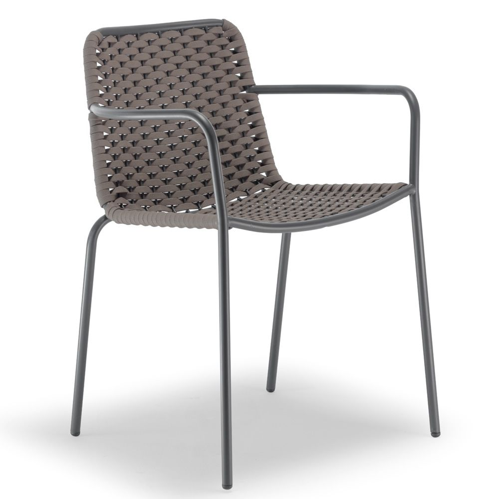 Spiga: Silla con reposabrazos, de metal, tapizada con textilene y ...