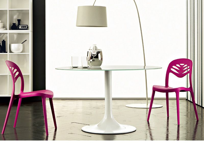 ... Corona 120   Round Table Made Of White Varnished Metal With Extra White  Glass Top ...