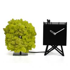 BirdWatching - Three-dimensional table cuckoo clock, in wood, steel and lichens