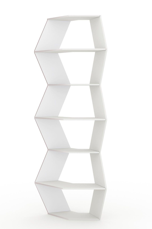 Zig Zag: Librería modular de design B-Line, en MDF blanco - Sediarreda