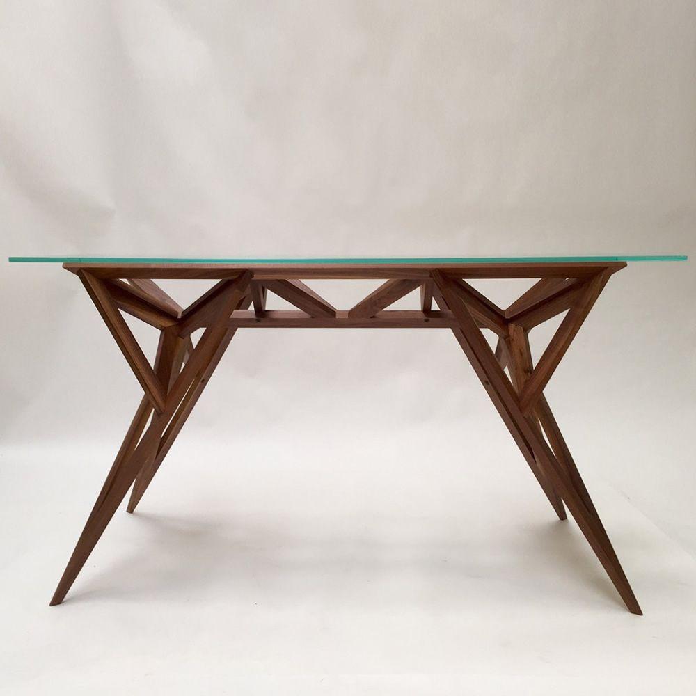 Schegge designer tisch valsecchi aus holz mit glasplatte for Designer tisch