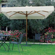 OMB10 Q - Sonnenschirm mit zentralem Standbein aus Holz, auch Teleskop, in verschiedenen Größen verfügbar, Viereckig oder Rechteckig