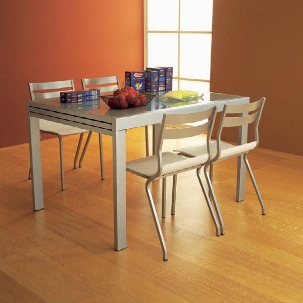 Vr120 tavolo allungabile in metallo con piano in vetro for Tavolo vetro satinato