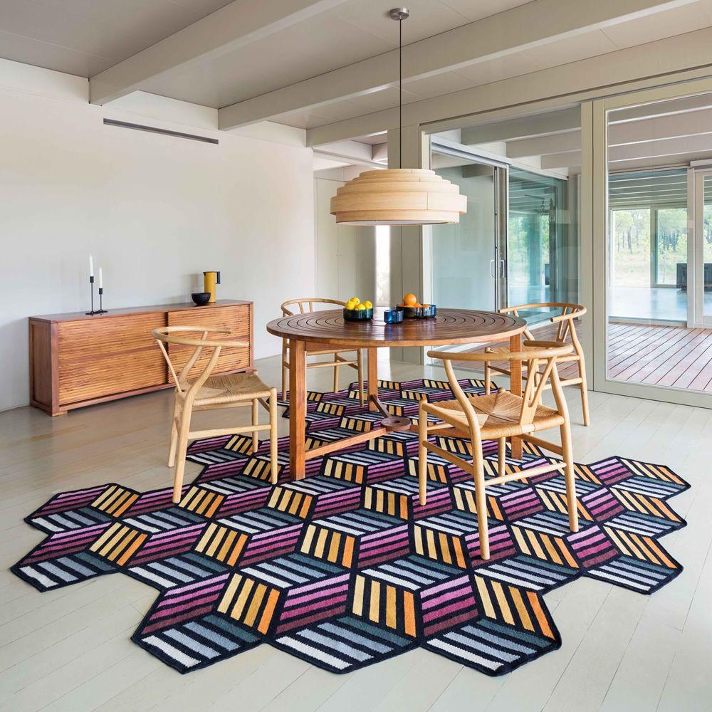 parquet hexagon tapis design en laine disponible en diff rentes dimensions sediarreda. Black Bedroom Furniture Sets. Home Design Ideas