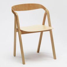 Sta - Sedia in legno con braccioli, impilabile, disponibile in diversi colori
