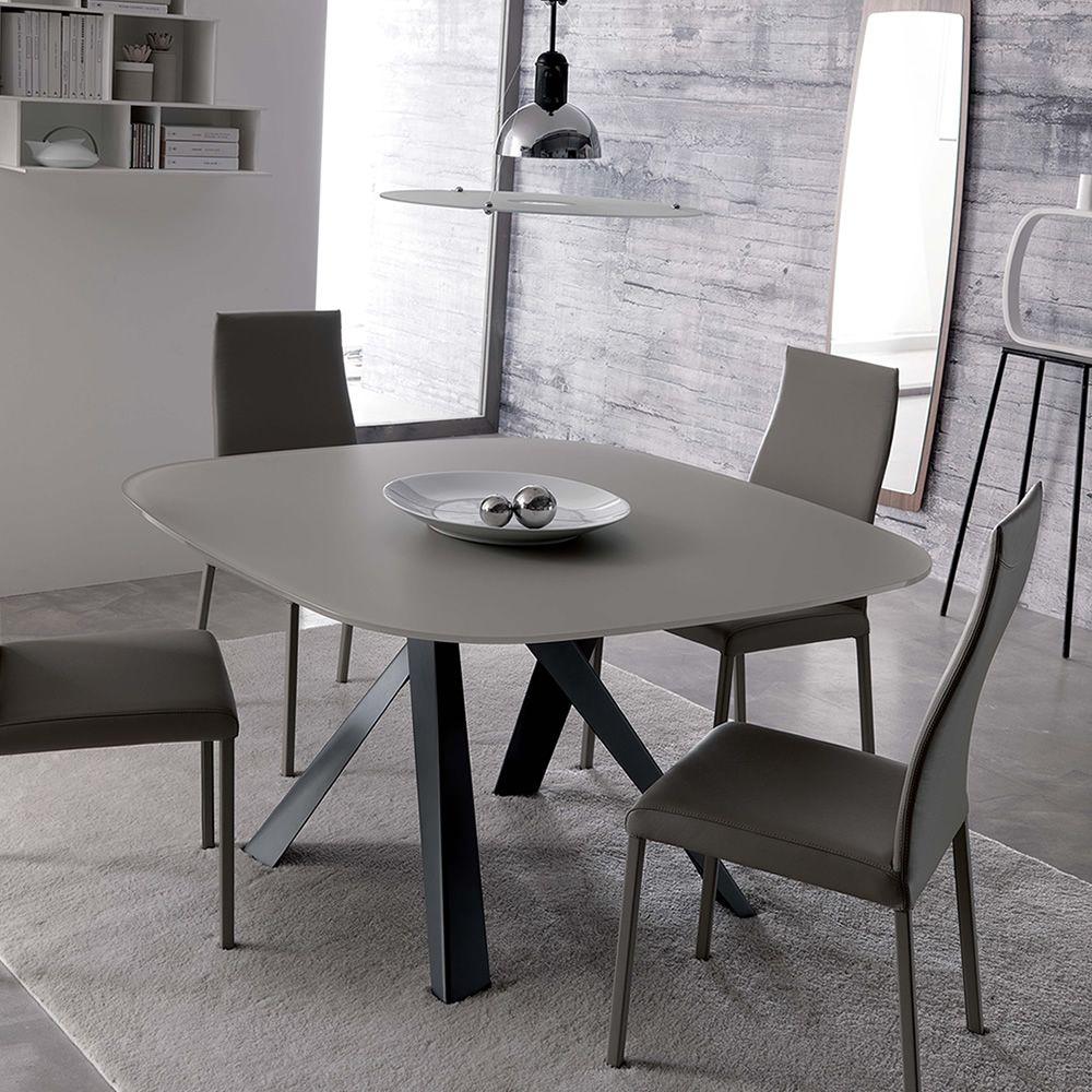 Bombo tavolo moderno in metallo piano in cristallo anche allungabile - Tavolo cristallo allungabile ...