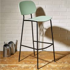 Tondina Pop SG - Infiniti metal stool, seat and backrest in polypropylene, different colours available, seat height 67.3 cm