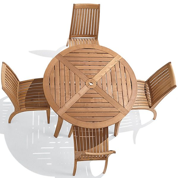 Garden Furniture Top View dream: garden table in robinia wood, diameter 125 cm, with swivel