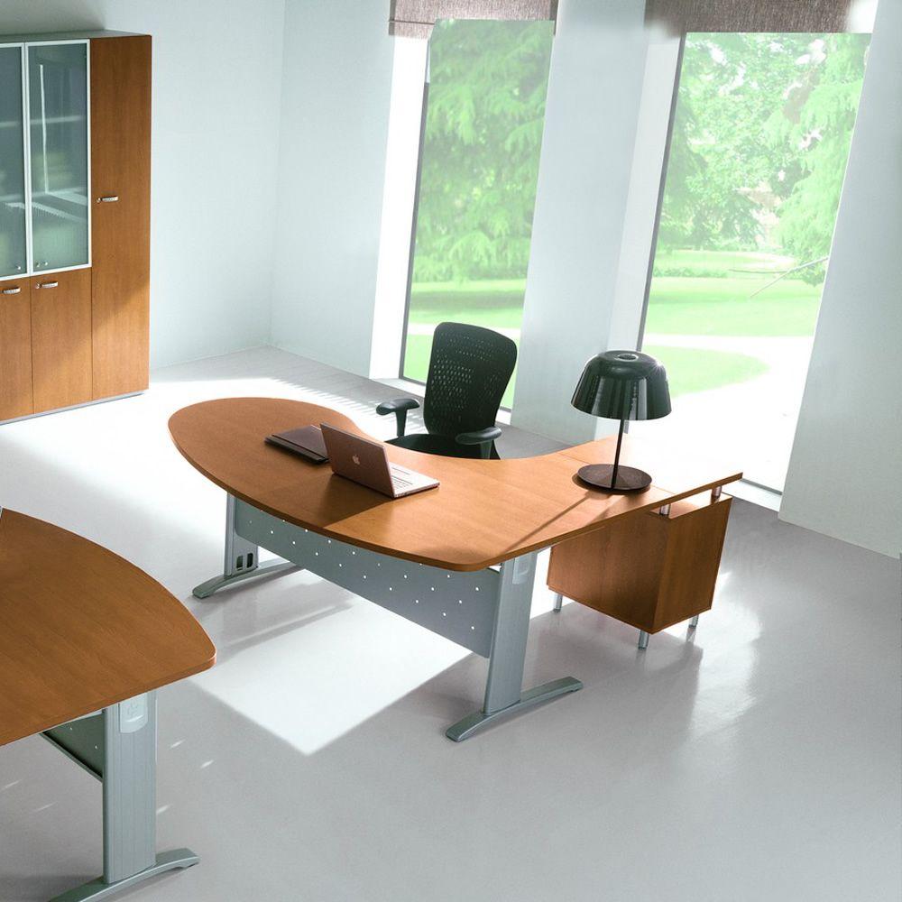 Idea system 02 scrivania per ufficio con penisola e for Ufficio scrivania
