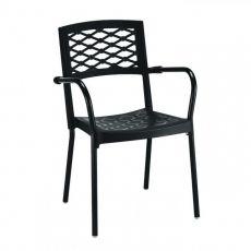 Lula 2090 - Sedia con braccioli, in alluminio e tecnopolimero, impilabile, per giardino