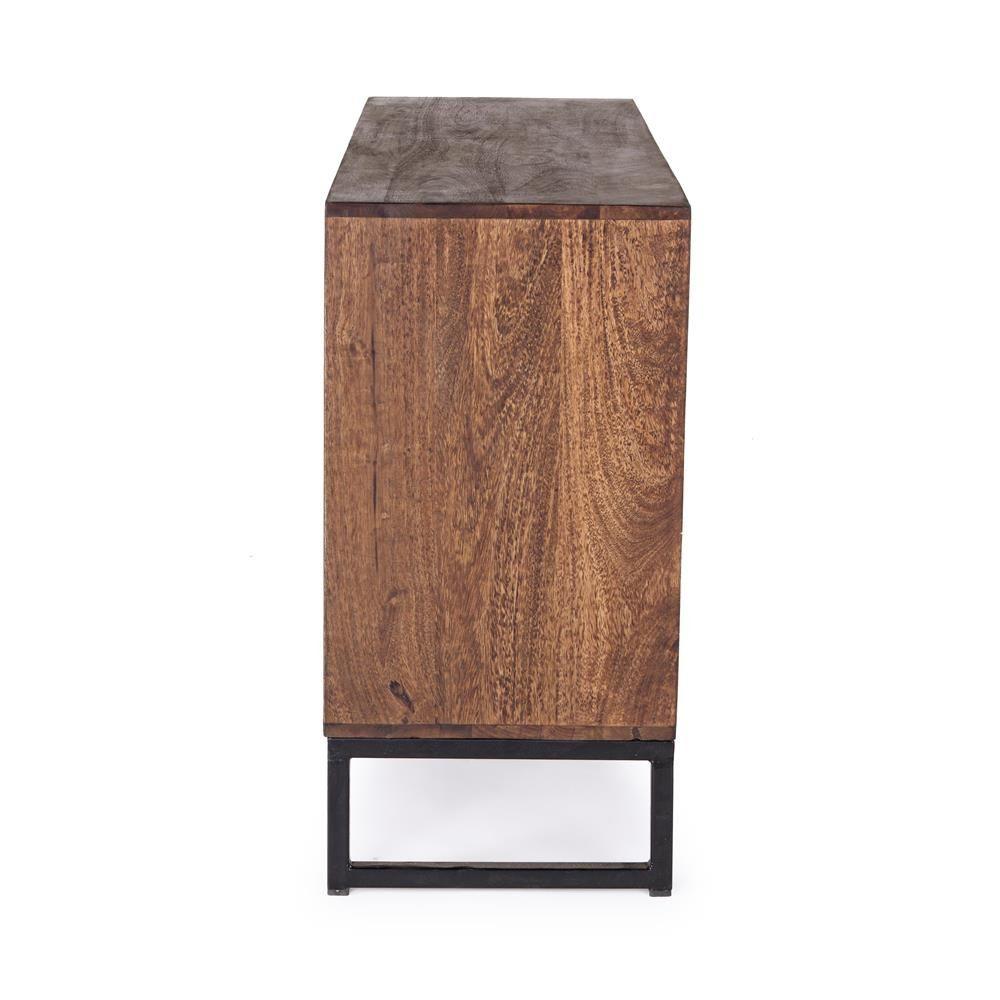 abuja 3a 4c m belst ck vintage f r wohnzimmer aus holz mit eisenbeine mit t ren und. Black Bedroom Furniture Sets. Home Design Ideas