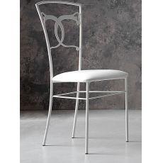 Altea sedia - Sedia in ferro con seduta in similpelle o tessuto cotone ecrù