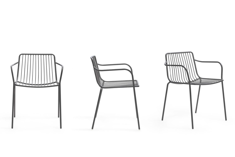 nolita p  pedrali chair with armrest in metal  stackable
