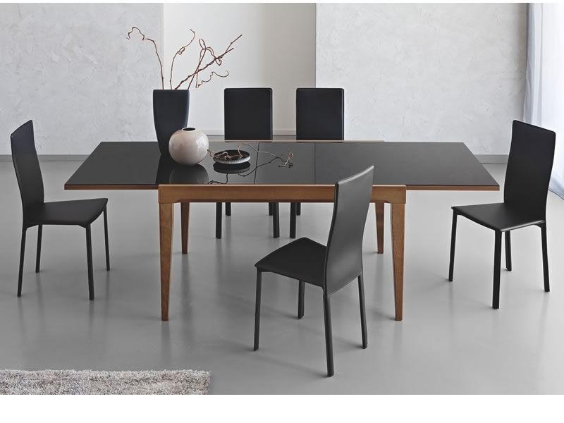 702 1v table en bois rallonge plan verre 130x90 cm - Table noire avec rallonge ...